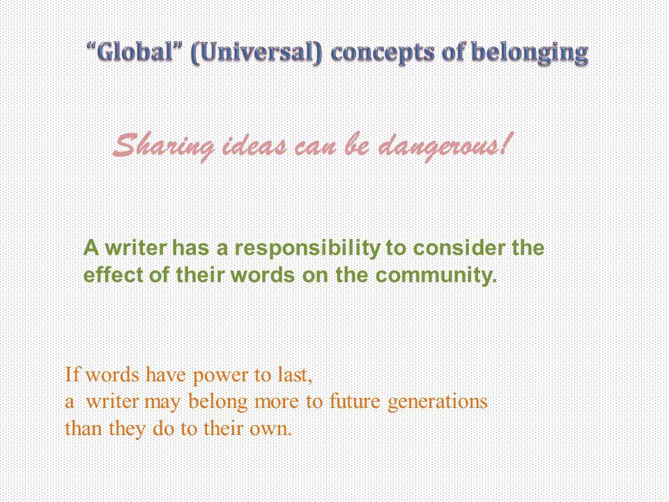 Global (Universal) concepts of belonging