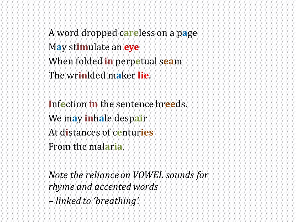 A word dropped careless on a page