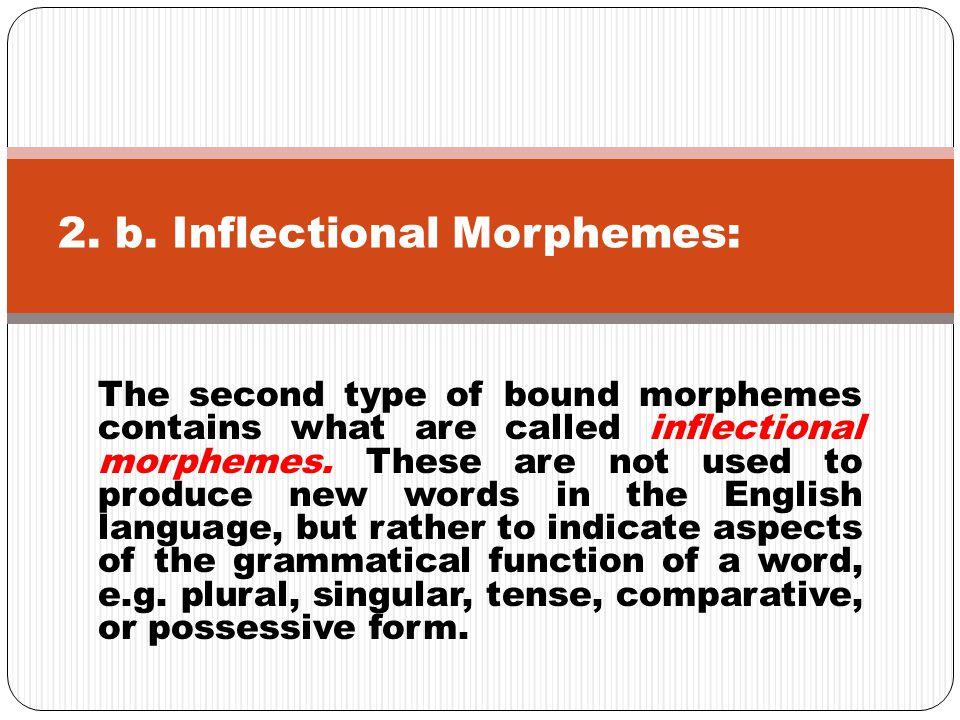 2. b. Inflectional Morphemes: