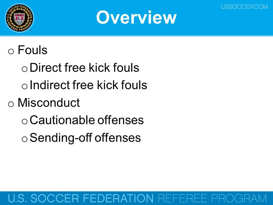 Overview Fouls Direct free kick fouls Indirect free kick fouls