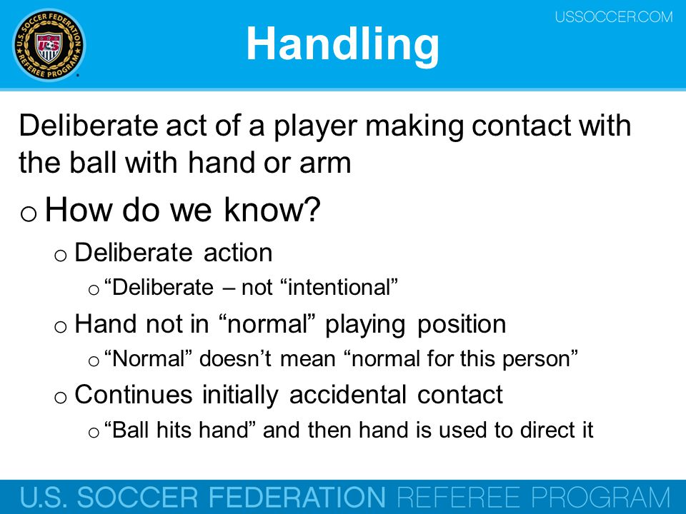 Handling Deliberate act of a player making contact with the ball with hand or arm. How do we know