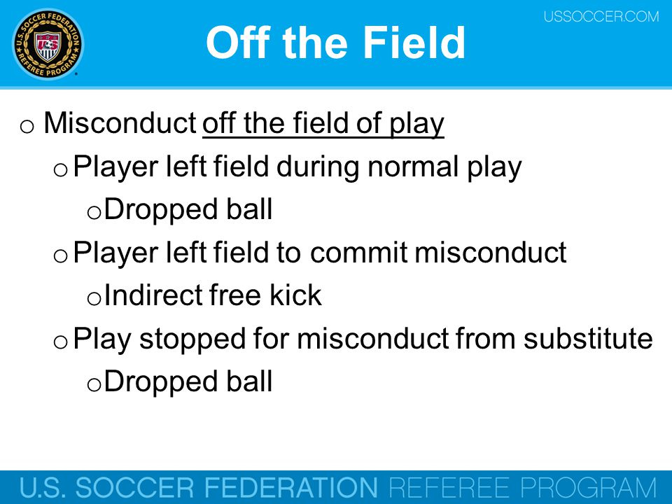 Off the Field Misconduct off the field of play