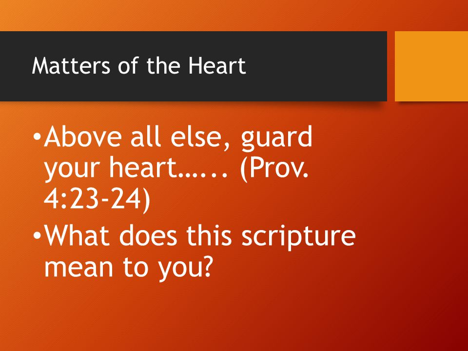 Above all else, guard your heart…... (Prov. 4:23-24)