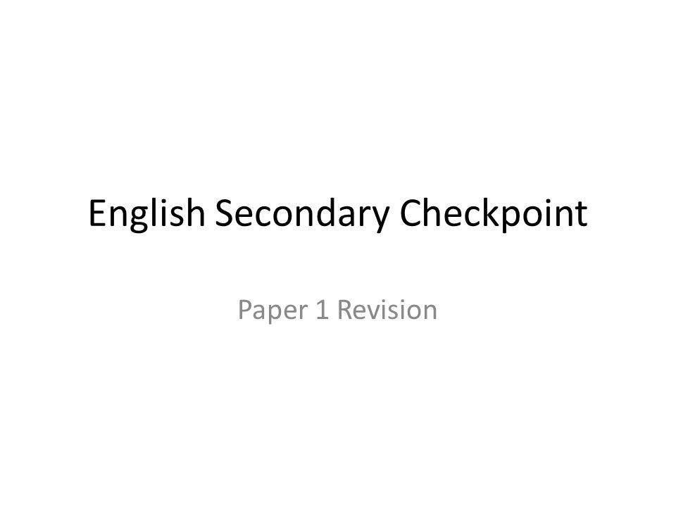 English Secondary Checkpoint
