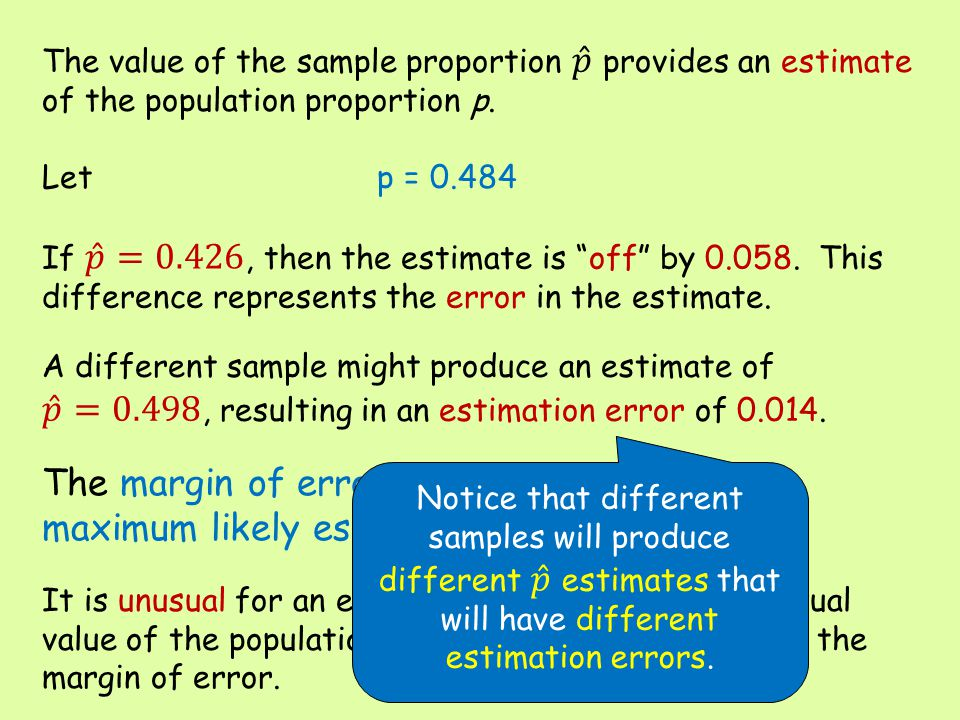 The value of the sample proportion 𝑝 provides an estimate of the population proportion p. Let p = 0.484