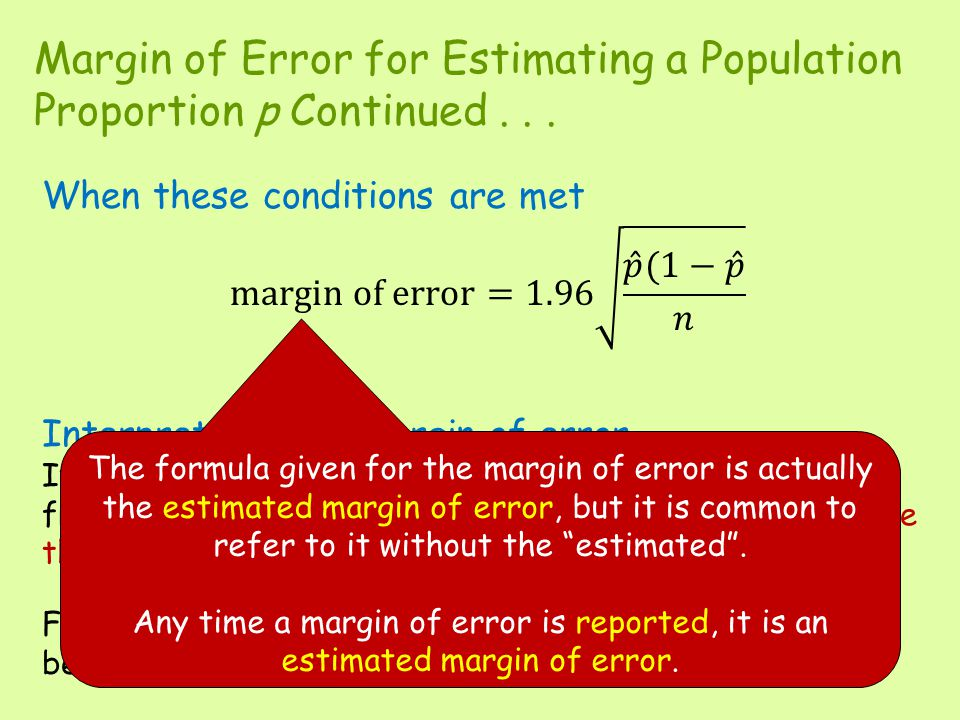 Margin of Error for Estimating a Population Proportion p Continued . . .