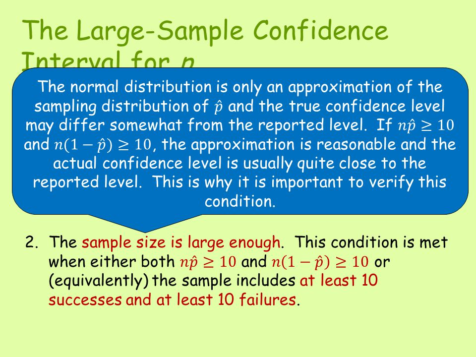 The Large-Sample Confidence Interval for p