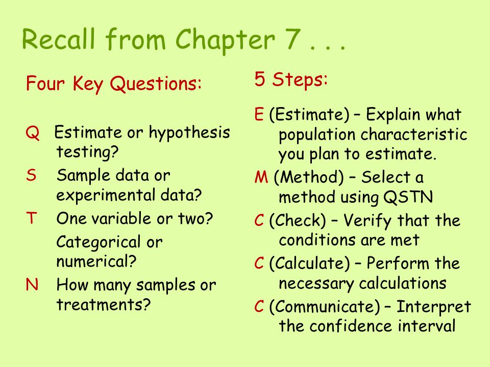 Recall from Chapter 7 . . . 5 Steps: Four Key Questions: