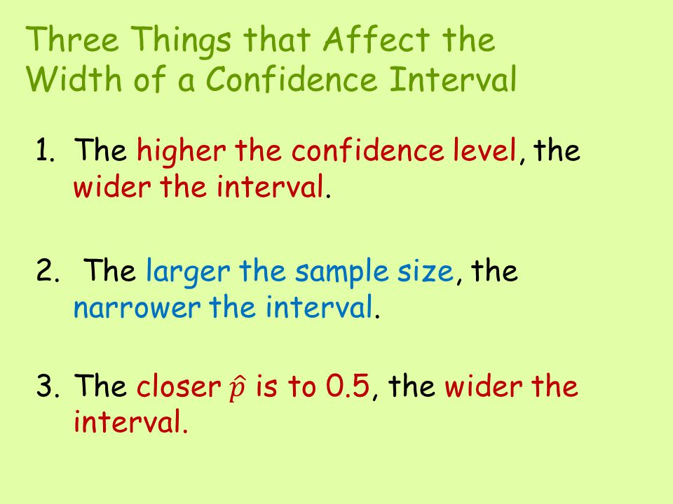 Three Things that Affect the Width of a Confidence Interval