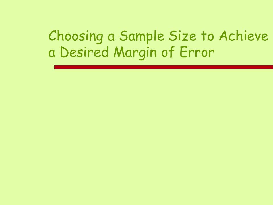 Choosing a Sample Size to Achieve a Desired Margin of Error
