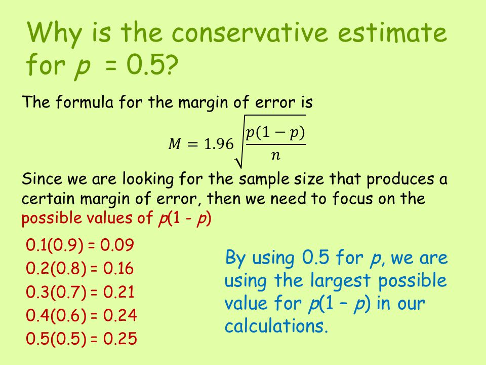 Why is the conservative estimate for p = 0.5