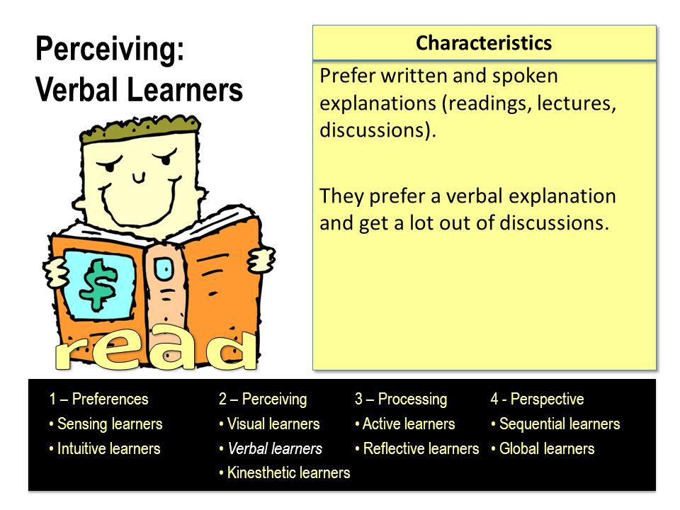 Perceiving: Verbal Learners