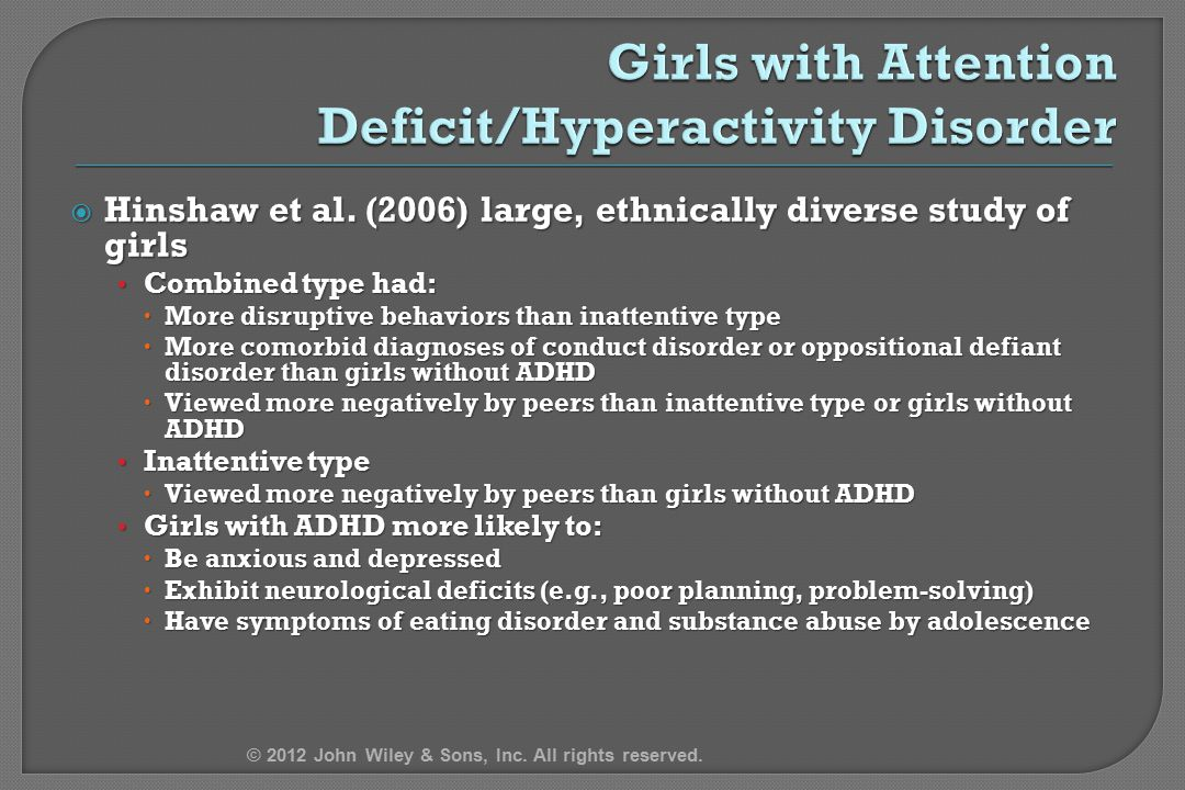 Girls with Attention Deficit/Hyperactivity Disorder