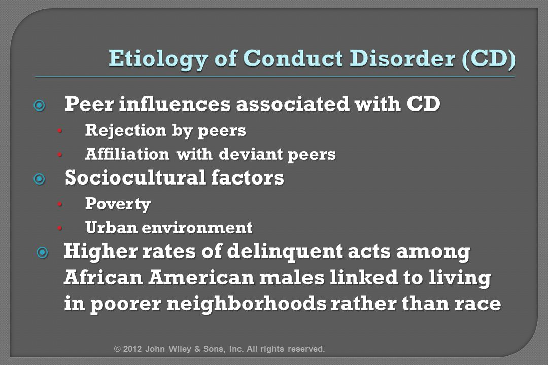 Etiology of Conduct Disorder (CD)