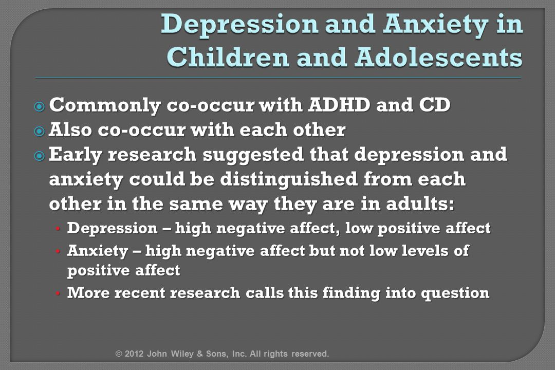 Depression and Anxiety in Children and Adolescents