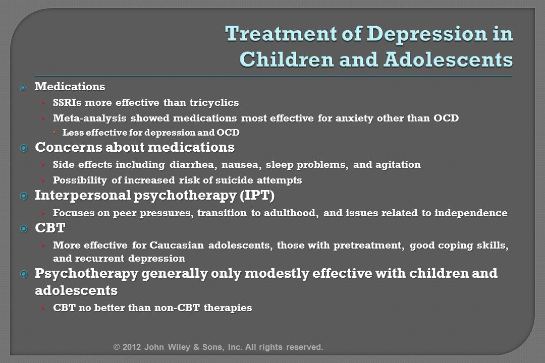 Treatment of Depression in Children and Adolescents
