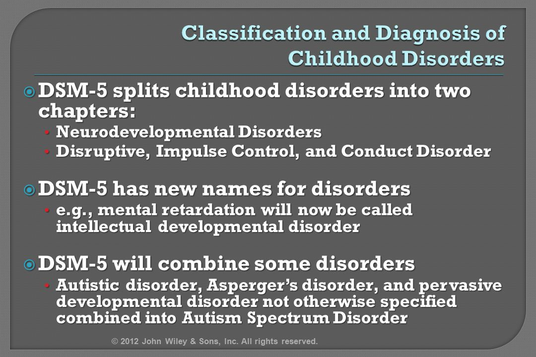 Classification and Diagnosis of Childhood Disorders