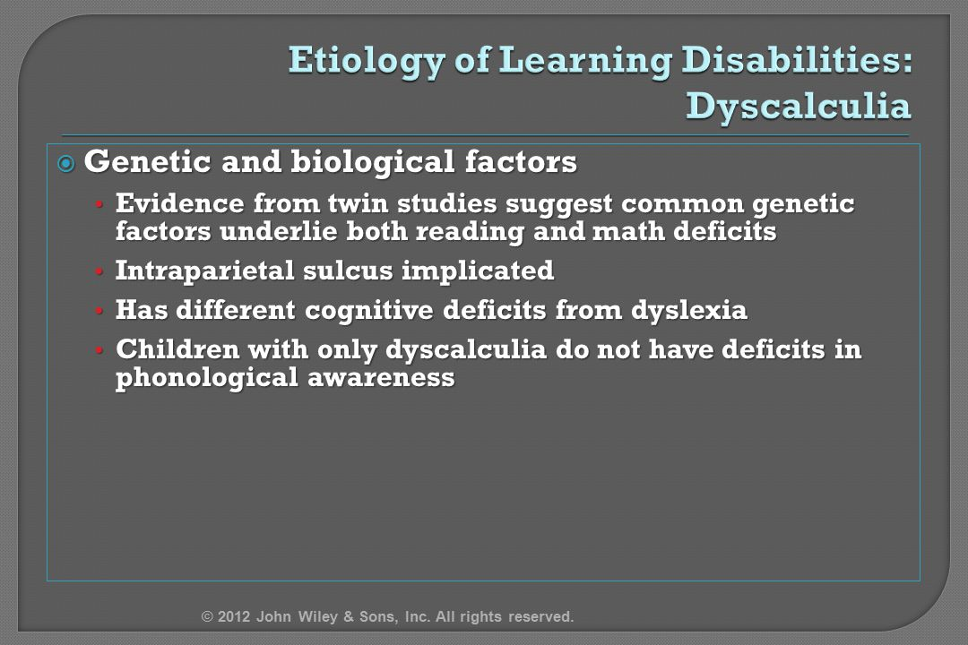 Etiology of Learning Disabilities: Dyscalculia