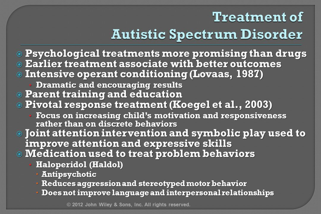 Treatment of Autistic Spectrum Disorder