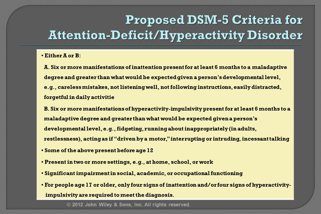 Proposed DSM-5 Criteria for Attention-Deficit/Hyperactivity Disorder