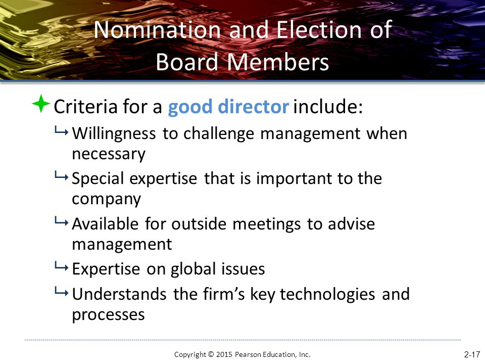 Nomination and Election of Board Members