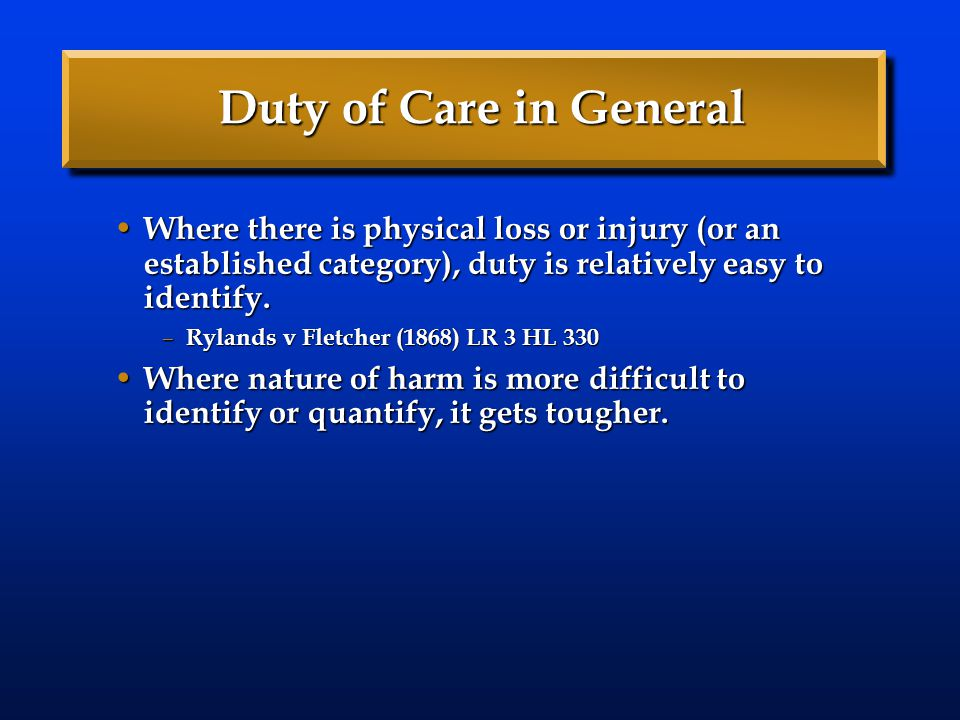 Duty of Care in General Where there is physical loss or injury (or an established category), duty is relatively easy to identify.