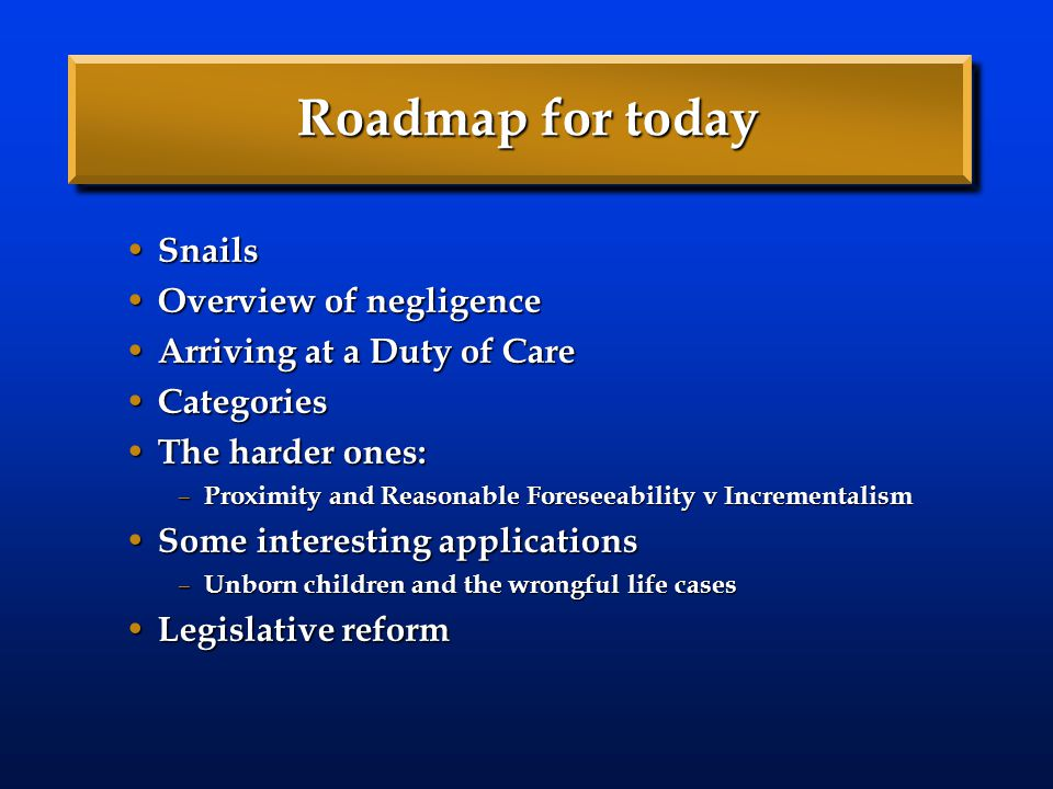 Roadmap for today Snails Overview of negligence