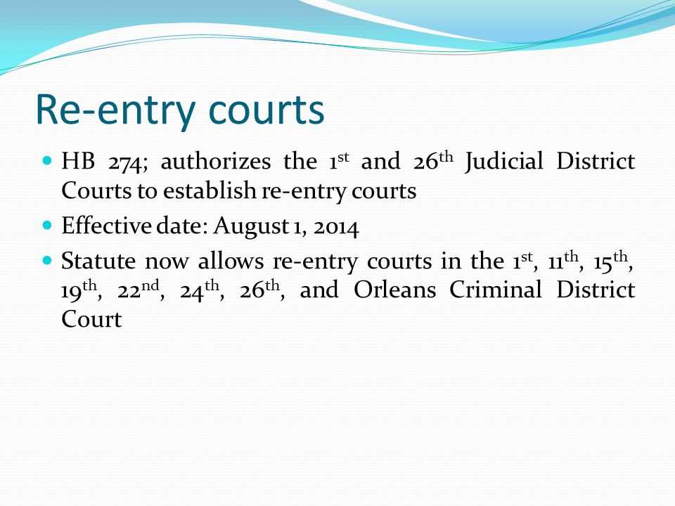 Re-entry courts HB 274; authorizes the 1st and 26th Judicial District Courts to establish re-entry courts.