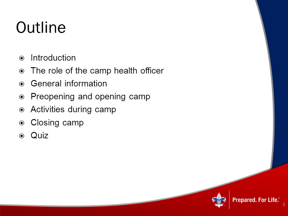 Outline Introduction The role of the camp health officer