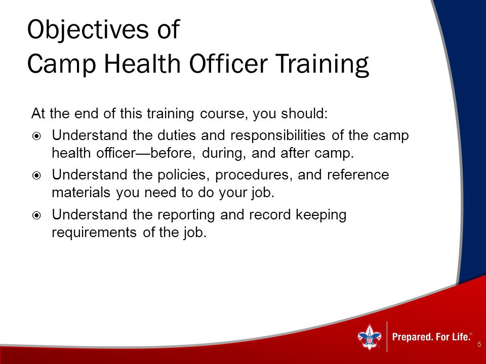 Objectives of Camp Health Officer Training