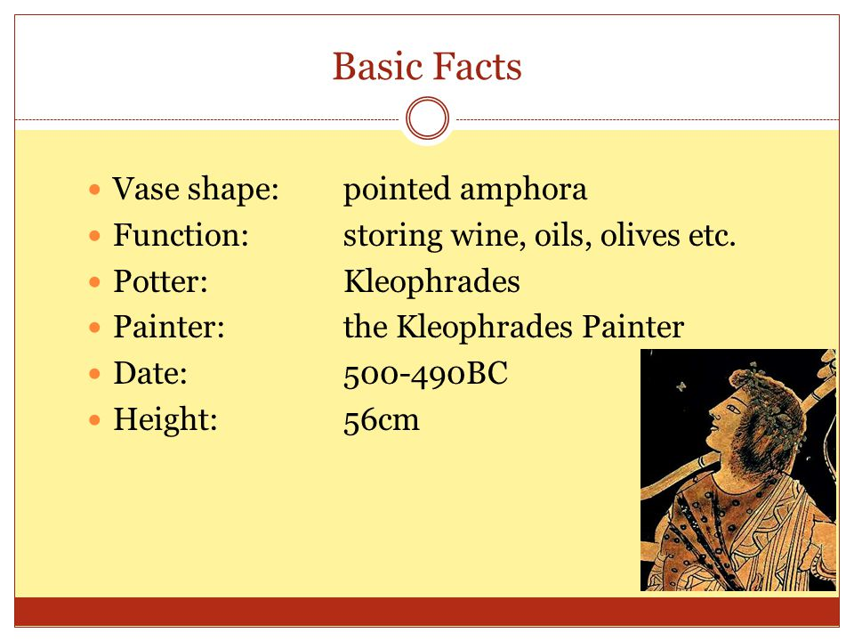 Basic Facts Vase shape: pointed amphora