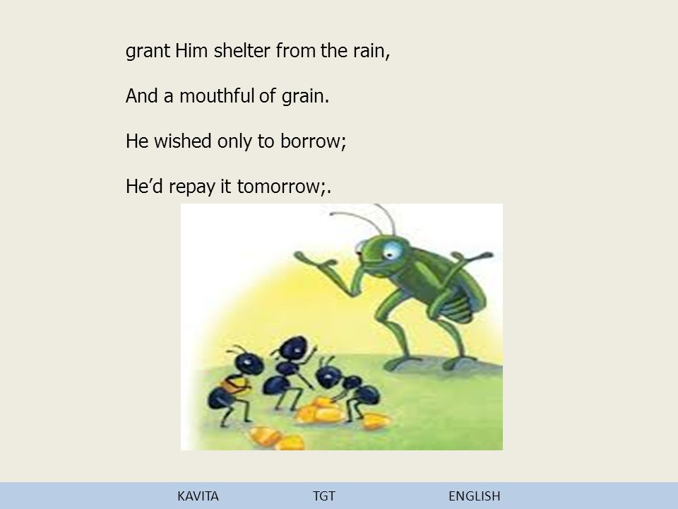 grant Him shelter from the rain, And a mouthful of grain.
