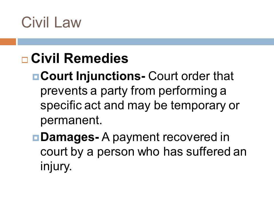 Civil Law Civil Remedies