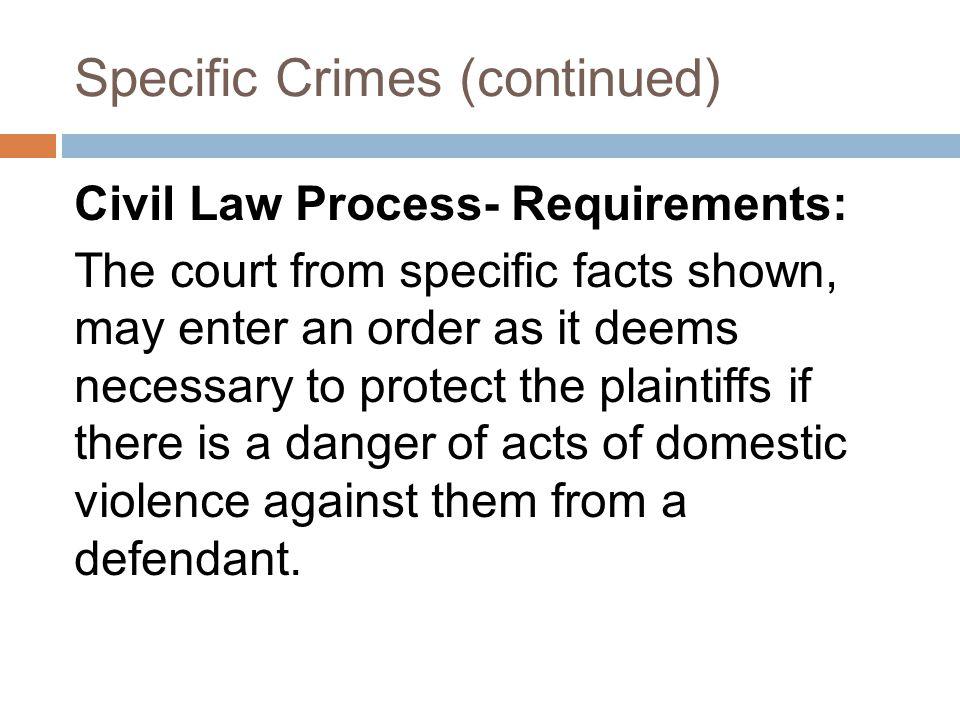 Specific Crimes (continued)