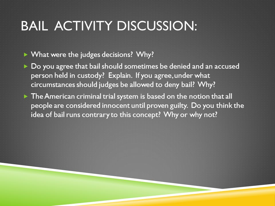 Bail activity discussion: