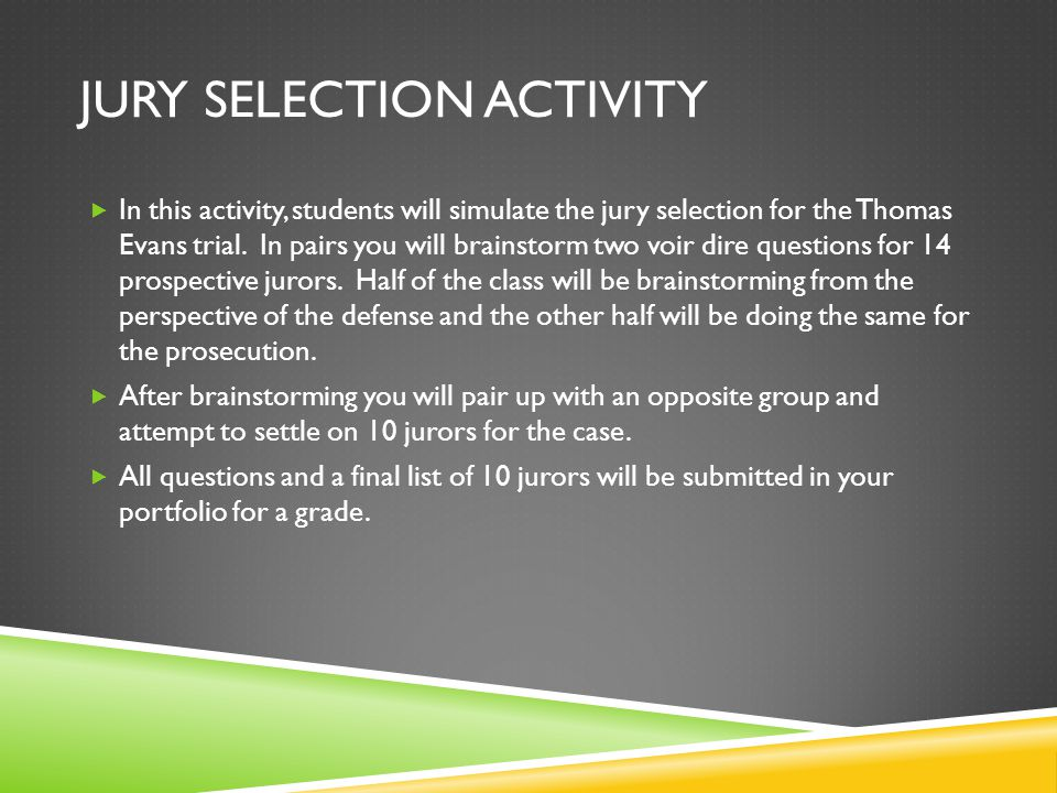 Jury Selection Activity