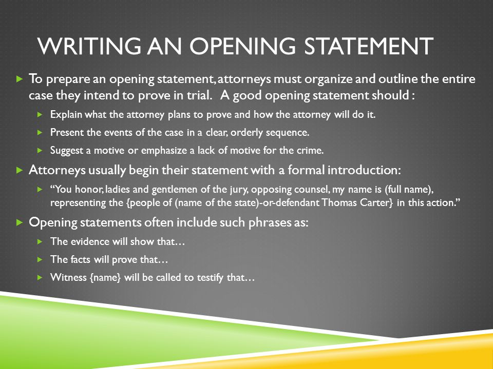 Writing an opening statement
