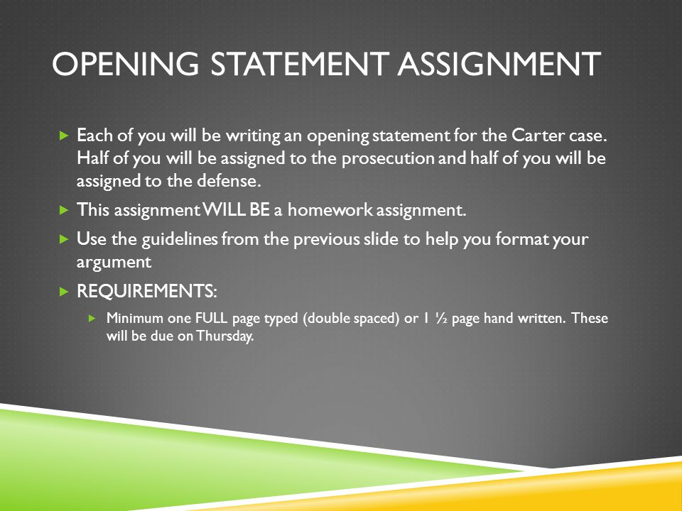 Opening Statement Assignment
