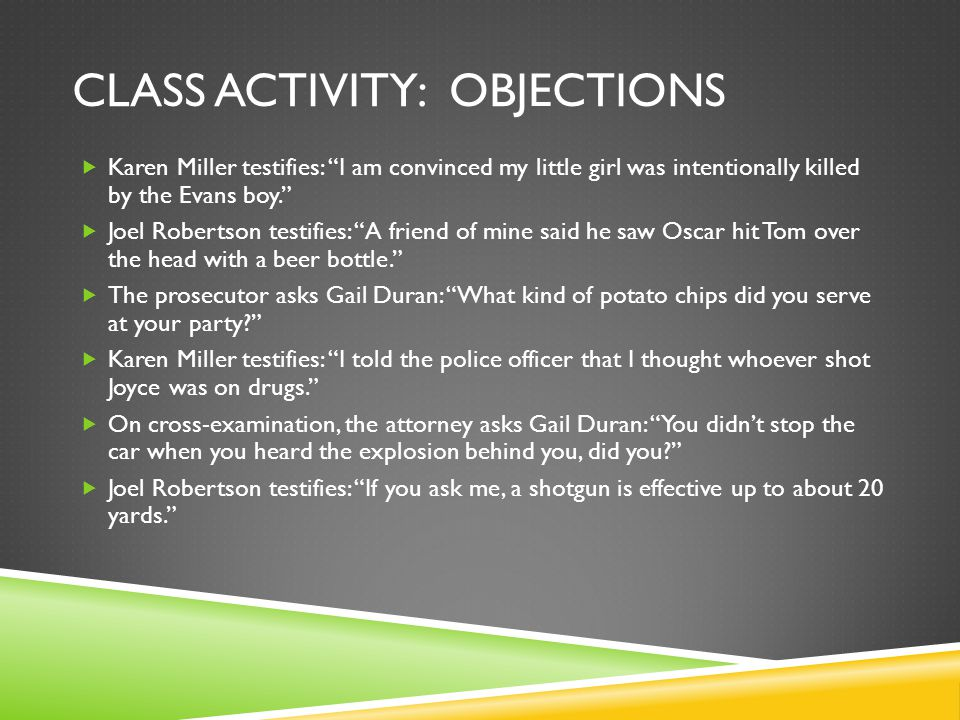 Class activity: Objections