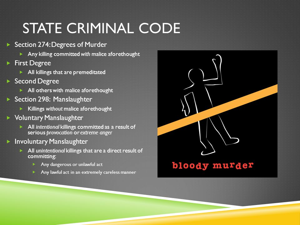State criminal code Section 274: Degrees of Murder First Degree