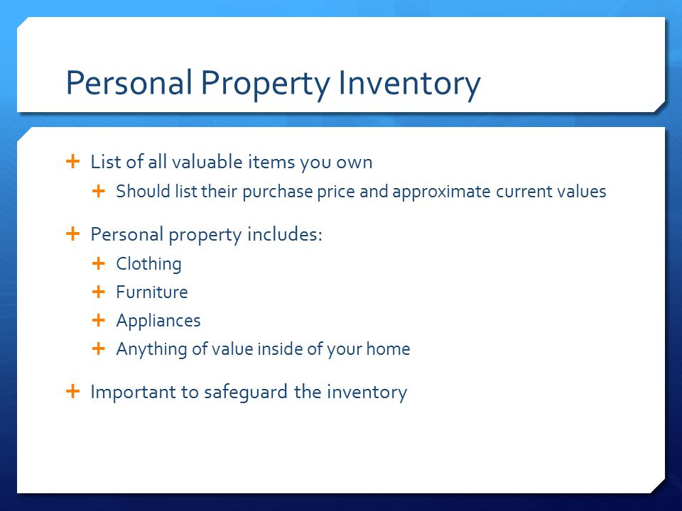 Personal Property Inventory