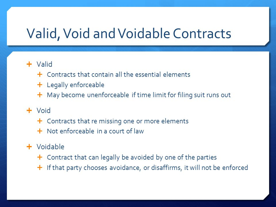 Valid, Void and Voidable Contracts