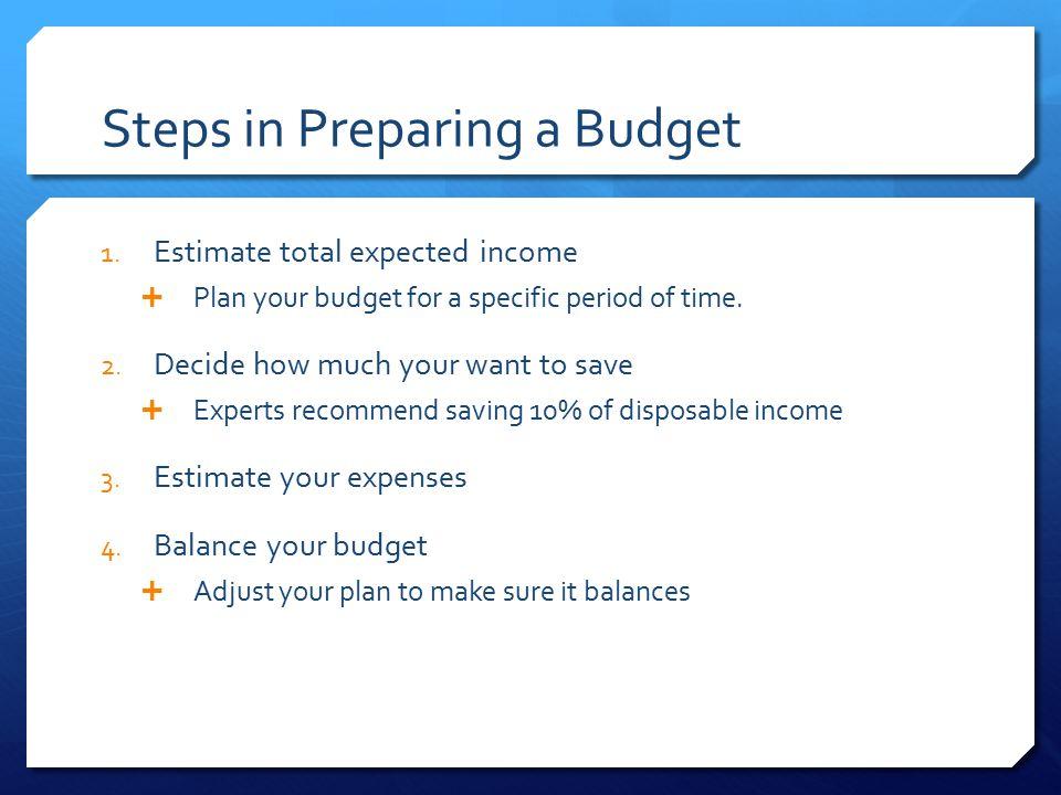 Steps in Preparing a Budget