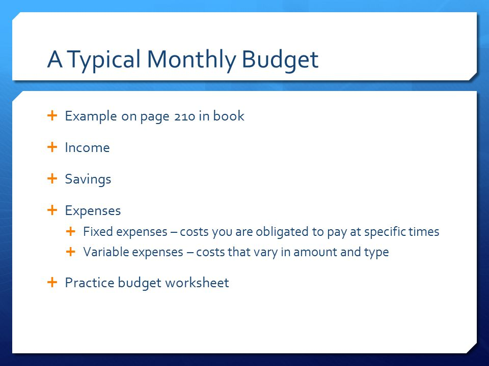 A Typical Monthly Budget