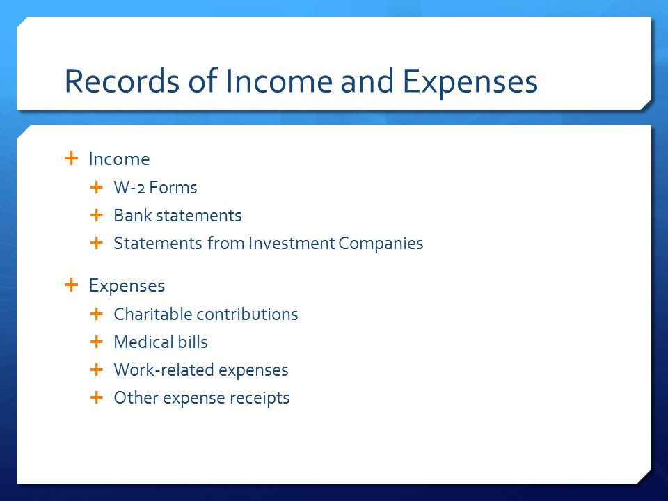 Records of Income and Expenses