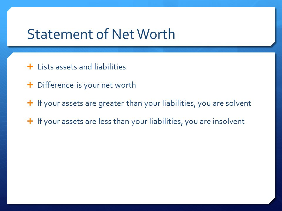 Statement of Net Worth Lists assets and liabilities
