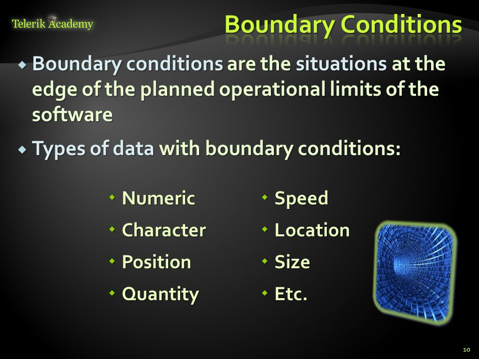 Boundary Conditions Boundary conditions are the situations at the edge of the planned operational limits of the software.