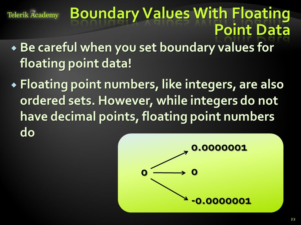 Boundary Values With Floating Point Data