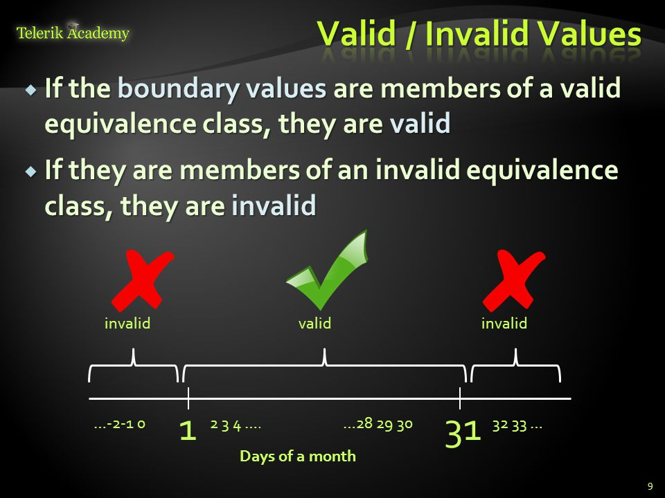 Valid / Invalid Values If the boundary values are members of a valid equivalence class, they are valid.
