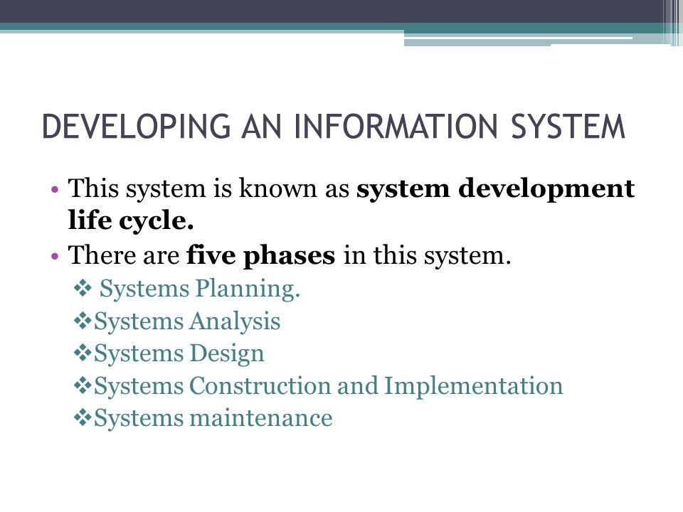 DEVELOPING AN INFORMATION SYSTEM